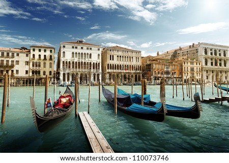 gondolas in Venice, Italy. - stock photo
