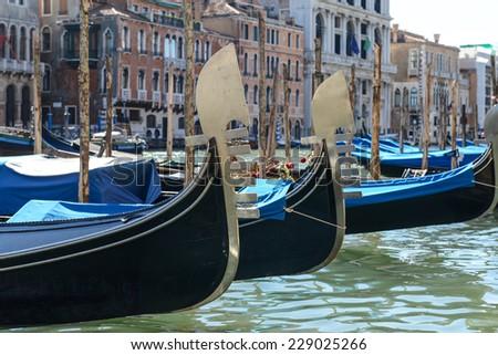 Gondolas in Venice Italy - stock photo