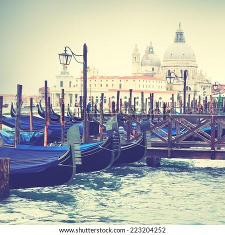 Gondolas in Venice, Italy. Instagram style filtred image - stock photo