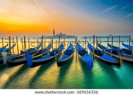 Gondolas in Venice - with San Giorgio Maggiore church. San Marco, Venice, Italy  - stock photo