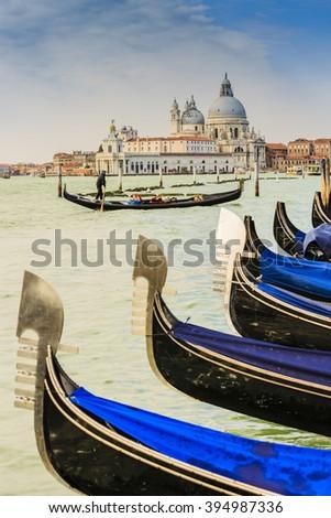 Gondolas in Venice with San Giorgio Maggiore church. San Marco, Venice, Italy - stock photo