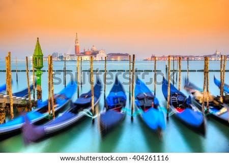 Gondolas in Venice - with San Giorgio Maggiore church. San Marco, Venice, Italy  - stock photo