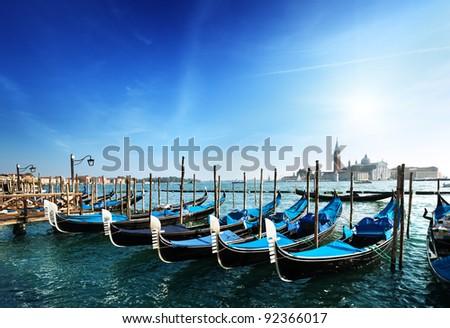 Gondolas on Grand Canal and San Giorgio Maggiore church in Venice - stock photo