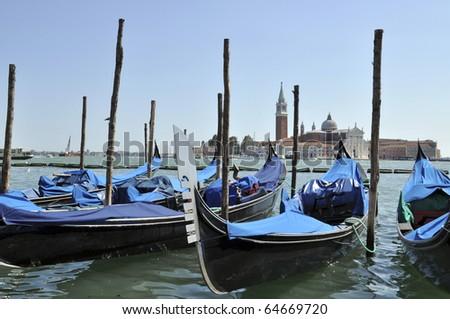 Gondolas on Grand Canal, Venice, Italy - stock photo