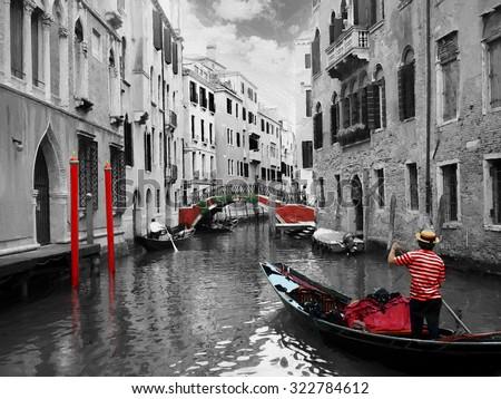 Gondolas on Venice in oil painting style - stock photo