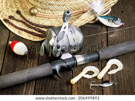 Gone fishing the old school way. - stock photo