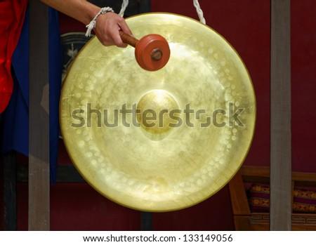 Gong in a Buddhist monastery, Kathmandu, Nepal - stock photo