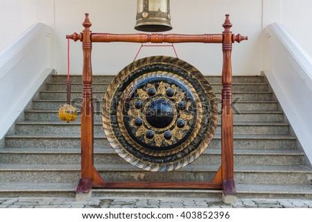 Gong in a Buddhist monastery, Thailand - stock photo