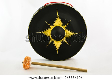 Gong isolated on white, instrumental music of Thailand - stock photo