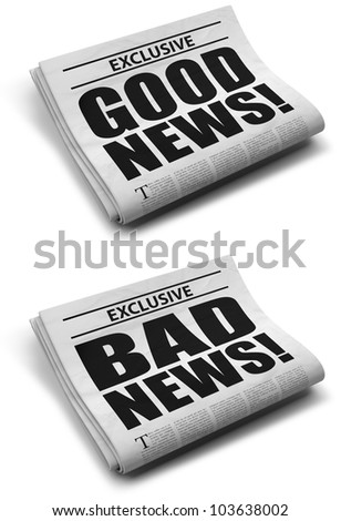 Good and bad news front cover newspaper - stock photo