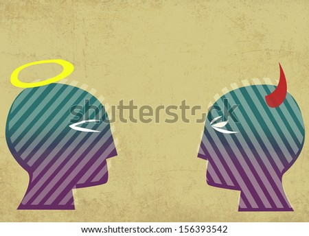 Good and Evil Concept. Two Heads Facing each Other. - stock photo