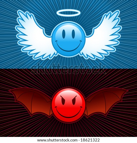 good and evil smiley - stock photo