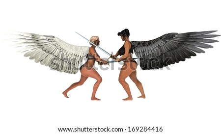 Good Angel and Bad Angel Fighting with Swords - Battle of Good and Evil - stock photo