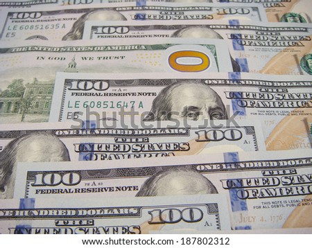 Good Angel Ben Franklin. Halo is naturally formed from the number 100 that is located on the reverse of the United States One Hundred Dollar Federal Reserve Note.  - stock photo