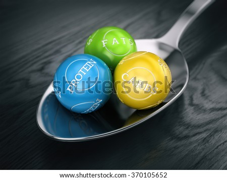 good balanced diet concept - fats carbs and protein in spoon - stock photo