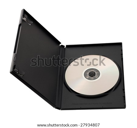 good foreshortening of dvd disk in box isolated on white