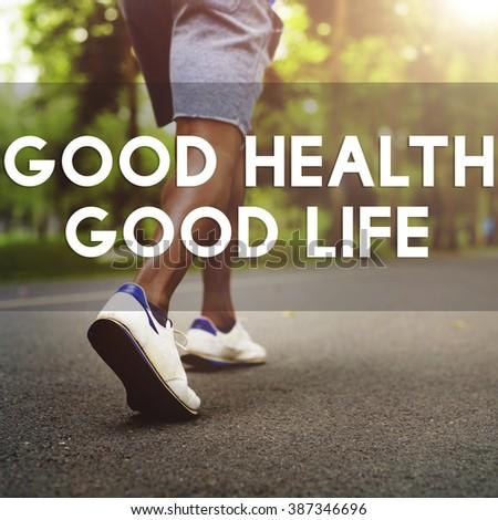 Good Health Good Life Lifestyle Nutrition Exercise Concept - stock photo