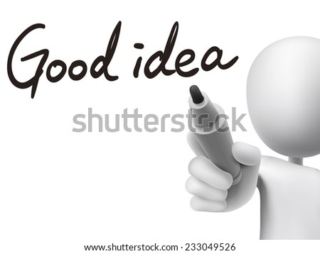 good idea words written by 3d man over transparent board - stock photo