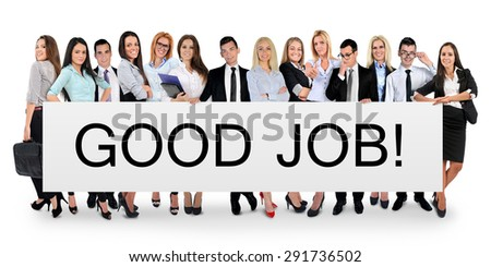 Good job word writing on white banner - stock photo