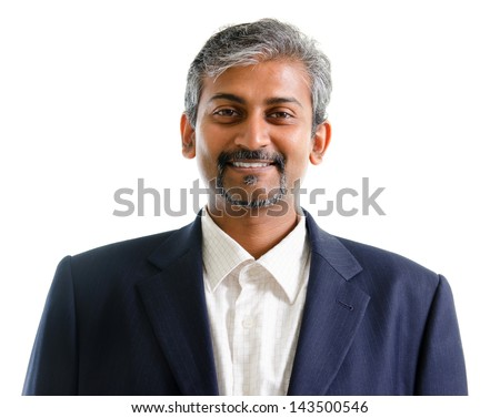 Good looking mature Asian Indian businessman with business suit smiling isolated on white background. Portrait of handsome Indian male model. - stock photo