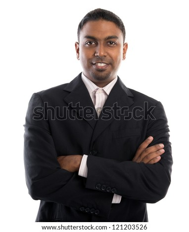Good looking 30s Indian male crossed arms over white background - stock photo