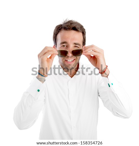 Good looking young man with sunglasses - stock photo