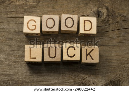 Good Luck text on a wooden cubes - stock photo