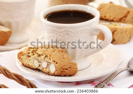 Good morning concept - Breakfast for two with Italian cantuccini biscuits and espresso coffee
