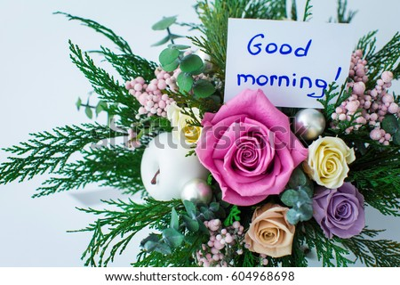 Good morning greeting beautiful bouquet flowers stock photo royalty good morning greeting and a beautiful bouquet of flowers m4hsunfo