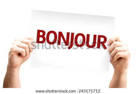 Good Morning (in French) card isolated on white background - stock photo