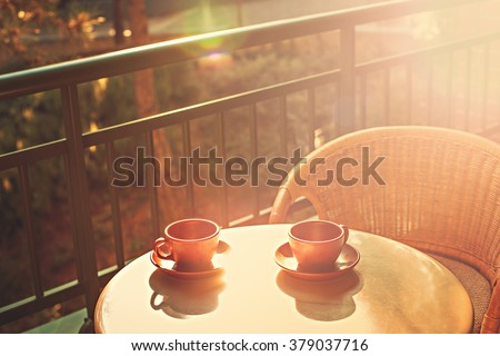 Good morning with a two cups of tea or coffee - stock photo