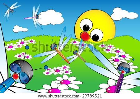 Good morning with flowers, dragonflies and sun: kid illustration style