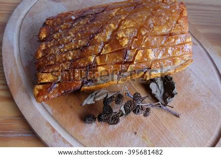 Good Piece Oriental Roast Pork Belly on wooden - stock photo