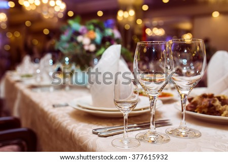 good served table in a restaurant - stock photo