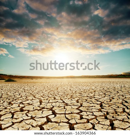 good sunset over desert - stock photo