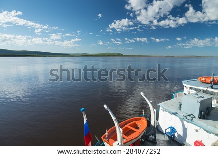 Good to travel along the river called Amour.  - stock photo