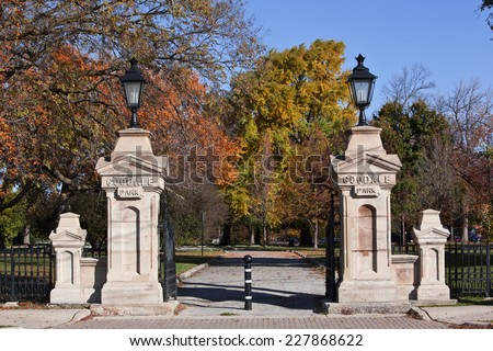 Goodale Park, located in the Victorian Village area of Columbus, Ohio, covers 32 acres and is the oldest park in the city. - stock photo