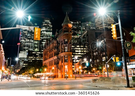 Gooderham building in the night, Toronto, Canada