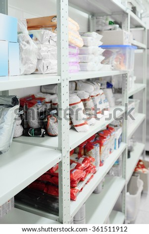 Goods on a shelves in a shop's store