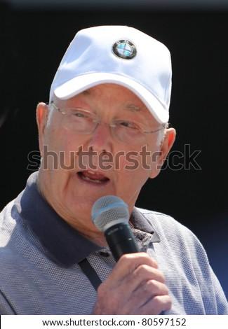 GOODWOOD, UK - JULY 3: Murray Walker, former Formula One (F1) motorsport commentator at Goodwood Festival Of Speed July 3, 2010 in Goodwood, UK. - stock photo