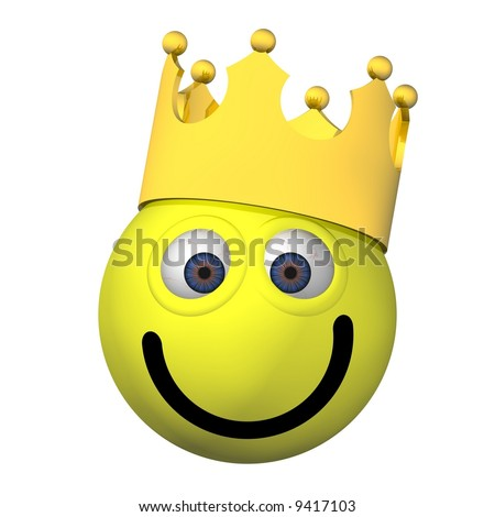 Goofy smiley face wearing a crown isolated on white - stock photo