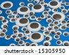 Google eyes on a blue background - stock photo