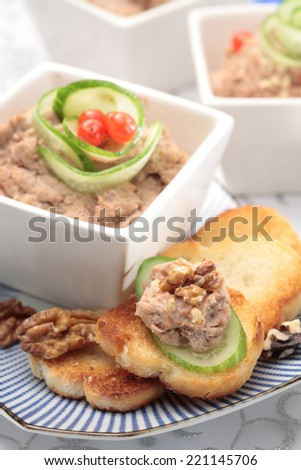 Goose liver pate / Foie  gras pate with toasts and  cranberry jelly - stock photo