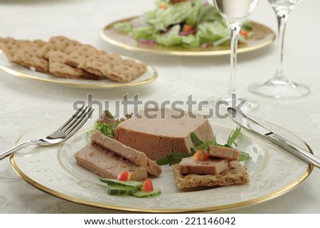 Goose liver pate / Foie  gras pate with toasts and  cranberry jelly/ Goose liver pate/ French cuisine - stock photo