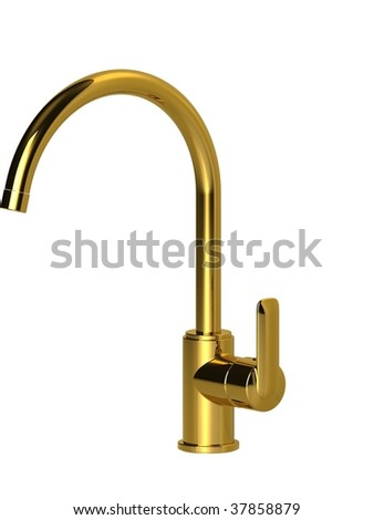 goose neck  spout kitchen faucet - stock photo