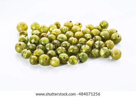 Gooseberries fruits on white background. Ripe summer fruits background.