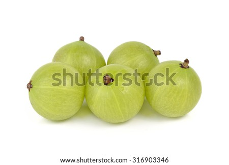 gooseberries on white background - stock photo