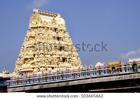 Gopuram of Ekambareswarar. Kanchipuram, Tamil Nadu, India - stock photo