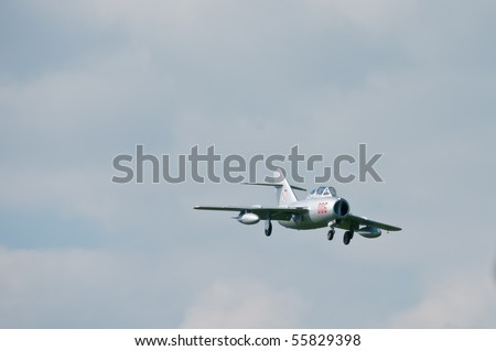 GORASZKA, POLAND - JUNE 13: The only operational, newly restored SB Lim-2 in flight over Goraszka airfield during 15th International Air Picnic on June 13, 2010 in Goraszka, Poland. View from front.