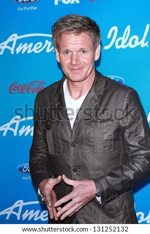"Gordon Ramsay at the ""American Idol"" Finalists Party, The Grove, Los Angeles, CA  03-07-13 - stock photo"